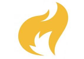 Sticker flamme jaune