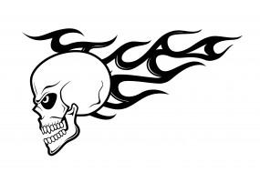 Sticker flamme tête de mort noir