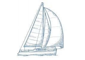 Sticker marin bateau bleu