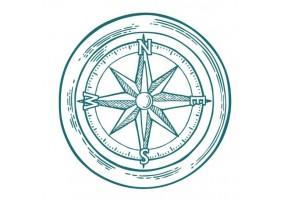 Sticker marin boussole verte