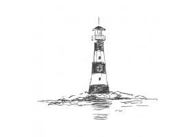 Sticker marin phare noir et blanc