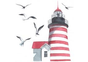 Sticker marin phare rouge et blanc