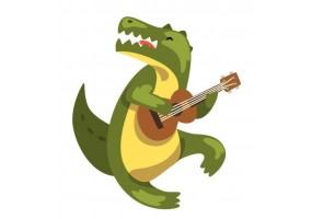 Sticker musique crocodile