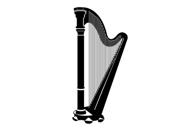 Sticker musique instrument harpe