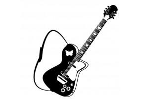 Sticker musique guitare noire et blanche