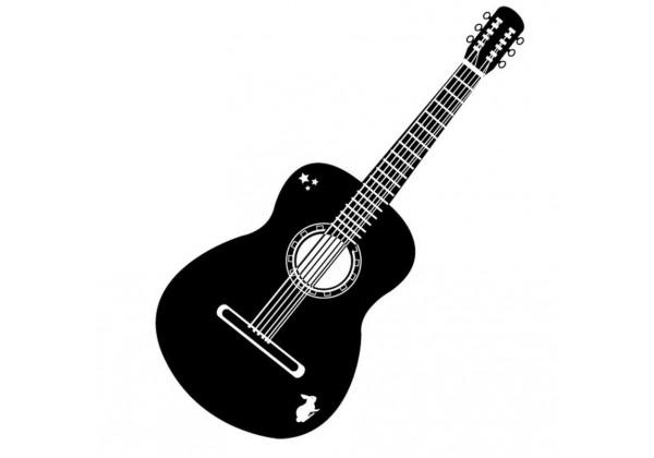 Sticker musique guitare sèche