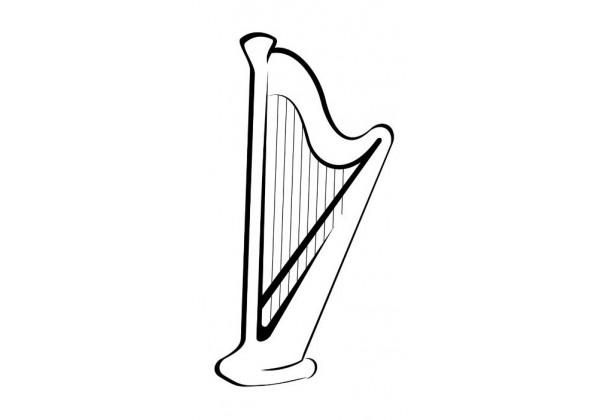 Sticker musique guitare harpe