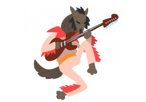 Sticker musique loup