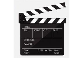 Sticker cinéma clap ouvert