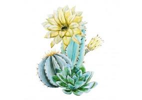 Sticker cactus fleur jaune