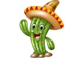 Sticker cactus chapeau mexicain