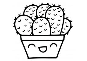 Sticker cactus content noir et blanc