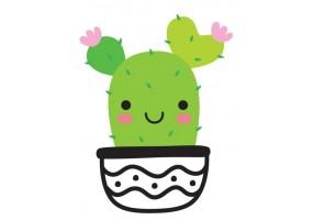 Sticker cactus motif noir et blanc