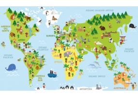 Sticker planète continents