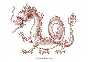 Sticker planète dragon chinois