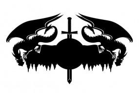 Sticker dragon noir