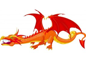 Sticker dragon rouge