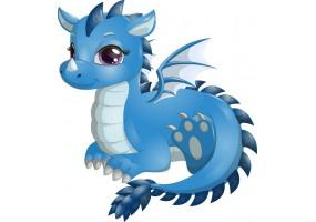 Sticker dragon bleu