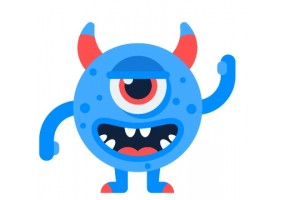 Sticker diable monstre bleu