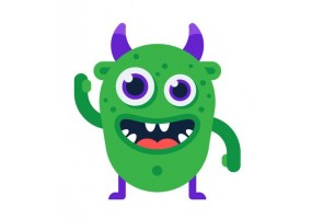 Sticker diable monstre vert
