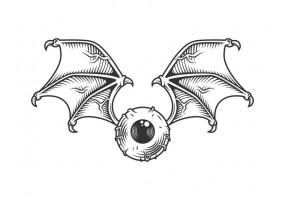Sticker diable œil halloween