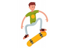 Sticker skate jaune