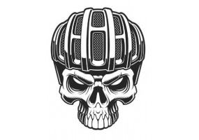 Sticker bmx casque tête de mort