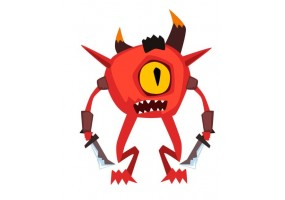 Sticker fantastique monstre rouge