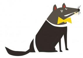Sticker Australie loup noir