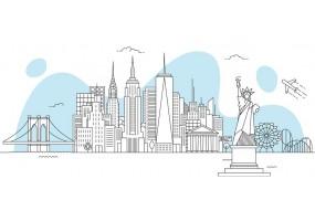 Sticker skyline statut de la liberté