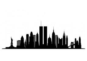 Sticker skyline tours jumelles noir