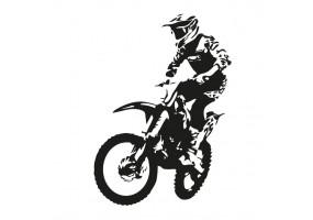 Sticker garçon moto noir et blanc