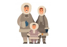 Sticker famille inuit
