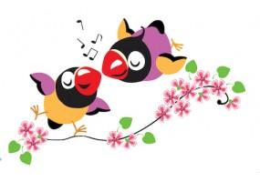 Sticker oiseau amoureux