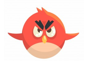 Sticker oiseau rouge angry bird