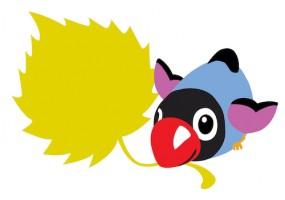 Sticker oiseau feuille