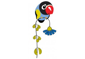 Sticker oiseau fleur