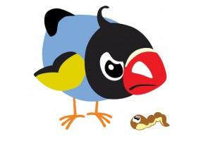 Sticker oiseau vers