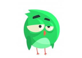 Sticker oiseau vert boule