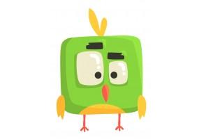 Sticker oiseau vert carré