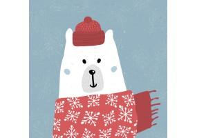Sticker ours blanc écharpe