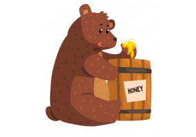 Sticker ours brun miel