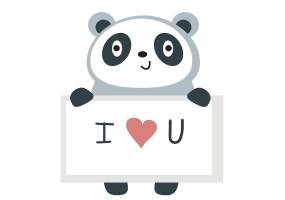 Sticker panda love