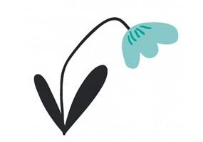 Sticker fleur bleue tige