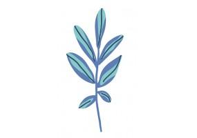 Sticker fougère bleue