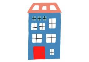 Sticker maison bleu