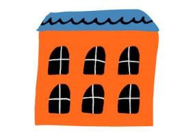 Sticker maison orange