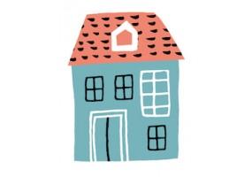 Sticker maison toit rouge