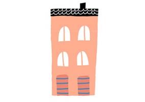 Sticker maison rose