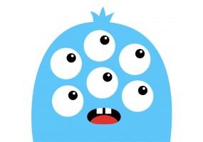 Sticker monstre bleu yeux